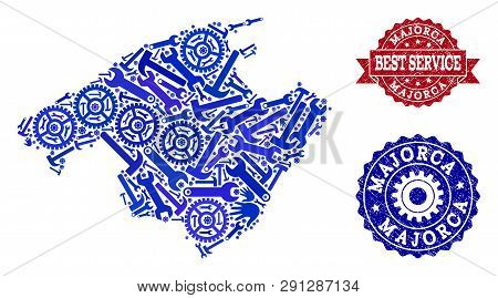 Best Service Collage Of Blue Mosaic Map Of Majorca And Textured Seals. Mosaic Map Of Majorca Designe
