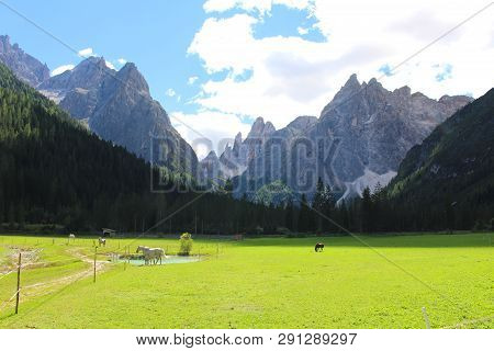 The Peaks Of The Mountains Of The Dolomites Seen From The Fiscalina Valley (val Fiscalina), Dolomite