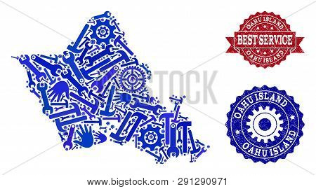 Best Service Composition Of Blue Mosaic Map Of Oahu Island And Textured Seals. Mosaic Map Of Oahu Is