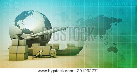 Global Distribution Network for Delivery and Transport 3d Render