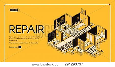 House Repair Service Isometric Vector Web Banner. Home Building, Apartment Rooms Cross Section Inter