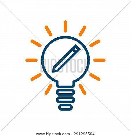 Idea Bulb With Pen Vector Icon On White Background. Idea Bulb With Pen Modern Icon For Graphic And W
