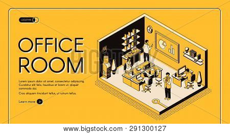 Business Workplace Organization And Design Isometric Vector Web Banner. Company Employees Or Entrepr