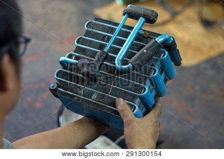 Car Air Conditioner Evaporator Coil Close Up.