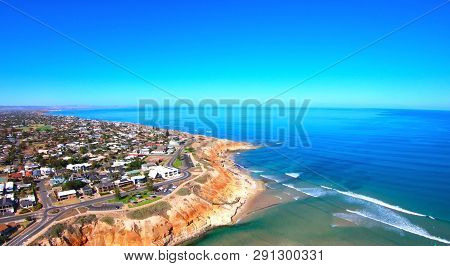Aerial footage of the South Australian Southport Onkaparinga River estuary. poster