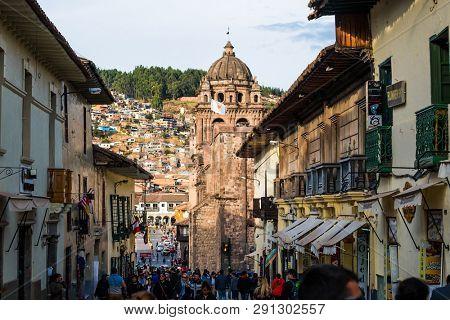 Cusco, Peru - October 11, 2018: Center street of Cusco city in Peru