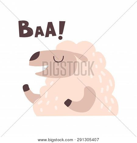 Sheep Bleating, Cute Cartoon Farm Animal Making Baa Sound Vector Illustration
