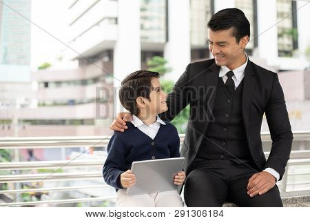 Father Single Dad Playing Game Smart Phone Together On Business District Urban, Dad And Son Happy Fa