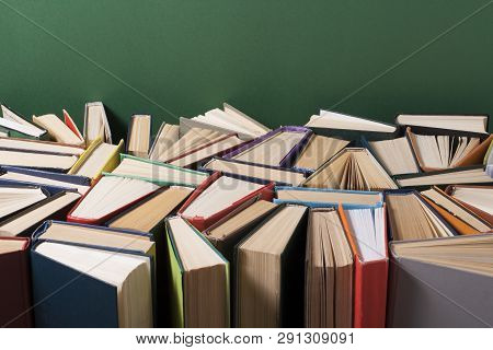 Open Book, Hardback Books On Wooden Table. Education Concept. Back To School. Copy Space For Text.