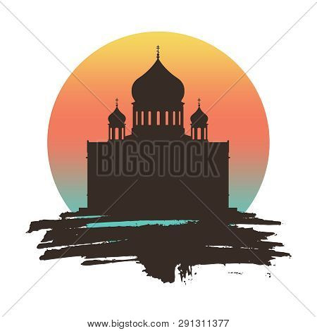 Cathedral Of Christ The Savior In Moscow. Simple Silhouette On Grunge Brush.