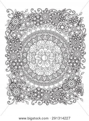 Floral Mandala Pattern In Black And White. Adult Coloring Book Page With Flowers And Mandalas. Orien