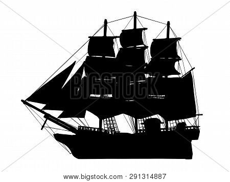 Pirate Ship Silhouette, Galleon, Brigantine, Age Of Discovery Sailing Vessels Vector Illustration