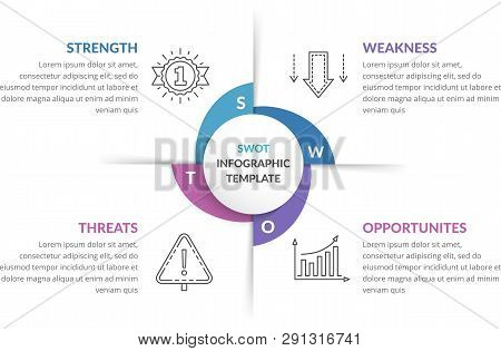 Swot Analysis, Circle Diagram, Infographic Template, Vector Eps10 Illustration