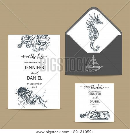 Wedding Card With Whale. Colorful Vector Illustration With Wildlif Animals. Save The Date Invitation
