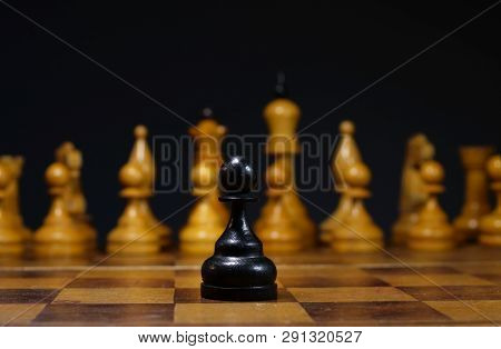 Bravery And Leadership. Difficult Decision In Business. Pawn On A Desk.