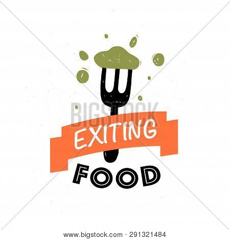 Vector Food Logo Design Template: Text, Ribbon, Fork, Tasty Food Isolated On White Background. For F