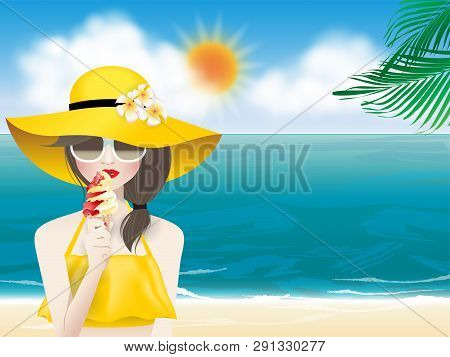 Young Fashion Woman With Red Lips And Eye Wear In A Yellow Sun Hat And Yellow Summer Swimsuit Holdin