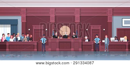 law process with judge jury suspect and police officers lawyer or attorney giving a speech court session modern courthouse courtroom interior full length horizontal poster
