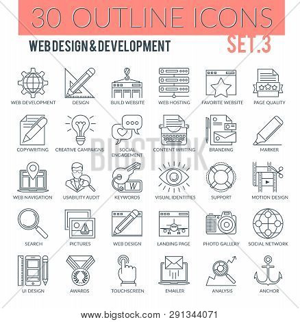 Set of outline icons on following themes - web design, web development, seo services, and other. Each icon neatly designed on pixel perfect 64X64 size grid. Perfect for use in website, presentation, promotional materials, illustrations, infogra