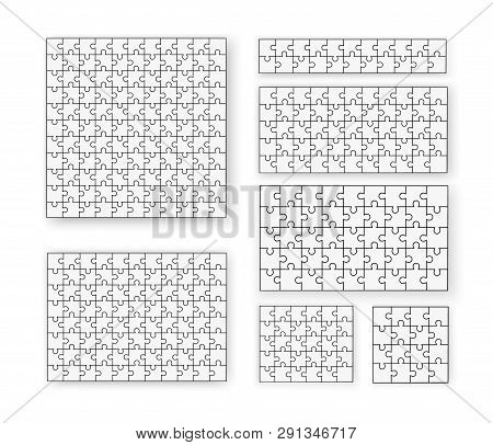 Flat Puzzle. A Lot Of Piece Flat Puzzle Presentation. Many Step Circle Business Background. Section