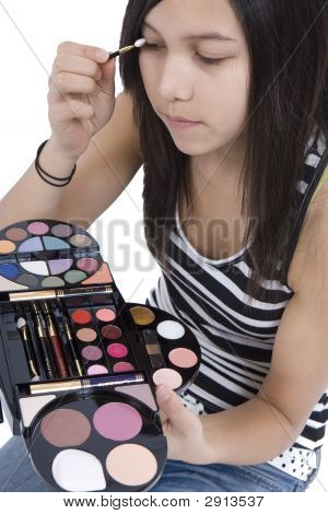Teenager Applying Makeup