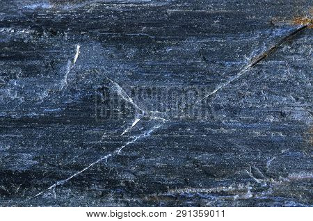 Dark Blue Slate Texture On Slate-phyllite Metamorphic Rock Transformation Background, Real Slate Sto