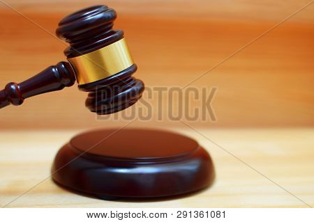 Judges Gavel Or Law Mallet And Sound Block On Wooden Background, Close-up. Judgement Or Auction, Jus