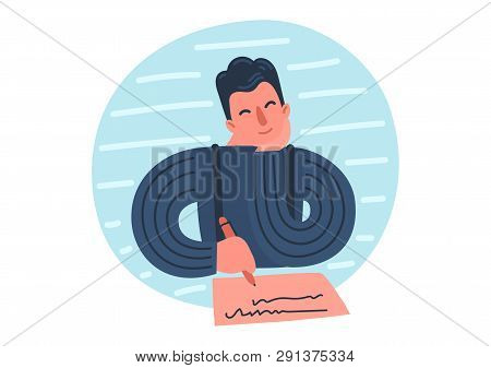 Writer Thinking. Hand Drawn Author With Pen And Piece Of Paper. Vector Illustration.