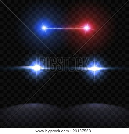 Creative Vector Illustration Of Police Car Silhouette Headlights, Blinking Isolated On Transparent B