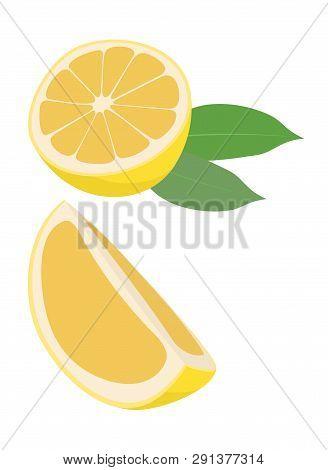 Lemon Fruit With Leaf Raster Illustration On White Background. Citrus Fruit. The Half Fruit And Cut
