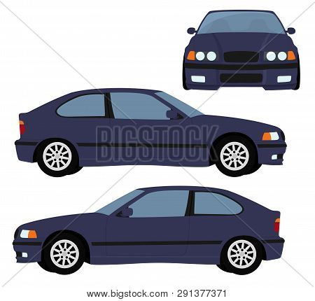 Car Raster Template On White Background. Hatchback Car Isolated. Vehicle Branding Mockup. Side, Fron