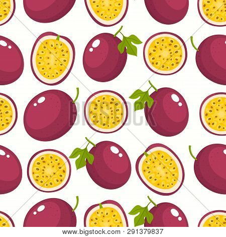 Vector Pattern With Cartoon Passion Fruits Isolated On White.