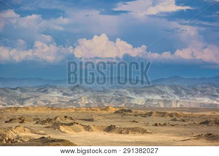 Egyptian Desert Panoramic Landscape With Mountains Under Cloudy Sky