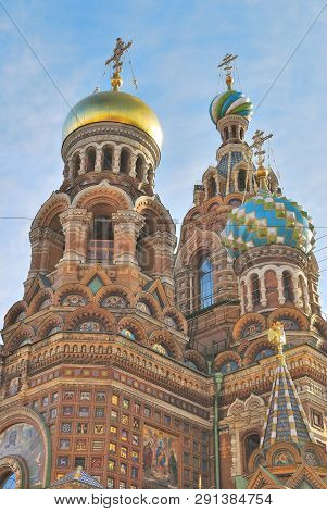 Saint-petersburg, Russia. Very Beautiful Domes Of The Church Of The Savior-on-blood