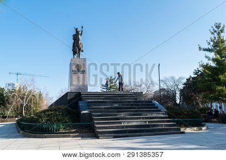 Ploiesti, Romania - February 17, 2019: Mihai Viteazul Statue Monument Situated In Ploiesti, Prahova,