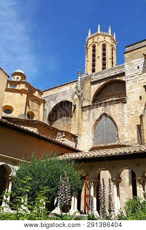 View Of Famous Aix Cathedral Of The Holy Saviour (saint-sauveur) Bell Tower From The Cloister, Aix-e