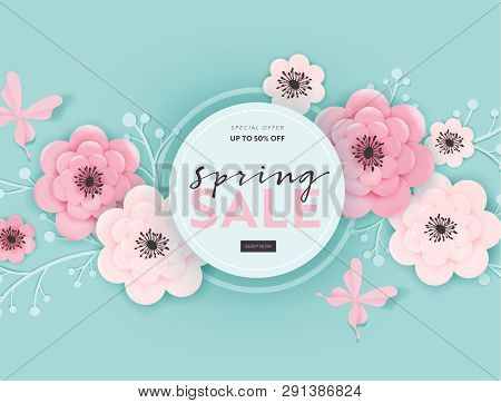 Spring Sale Banner Background With Paper Cut Flowers And Floral Elements. Spring Discount Voucher Te