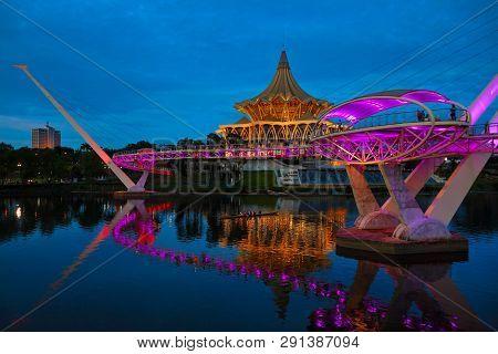 Kuching, Malaysia - March 11, 2019: Scenic Night View Of Illuminated State Legislative Assembly And