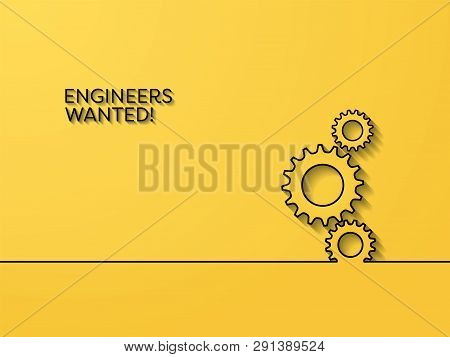 Business Recruitment Poster Vector Concept With Engineering Symbol. Symbol Of Career Opportunity For