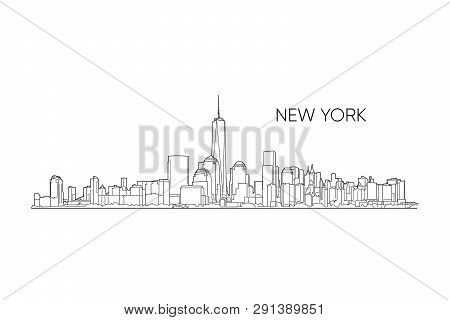 New York Vector Panorama, Hand Drawn Line Art Illustration. Black Outlines On White Background. New