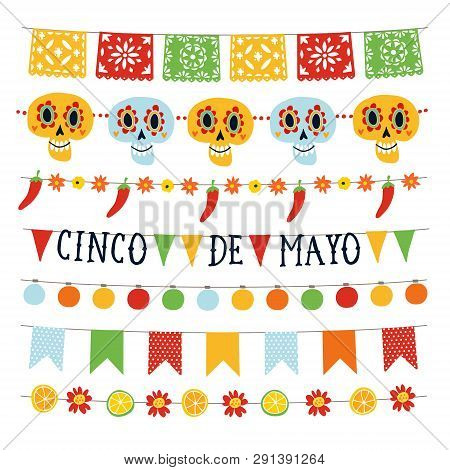 Set Of Cinco De Mayo Holiday Garlands With Lights, Bunting Flags, Ornamental Skulls, Flowers, Jalape