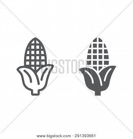 Corn Line And Glyph Icon, Farm And Harvest, Sweetcorn Sign, Vector Graphics, A Linear Pattern On A W