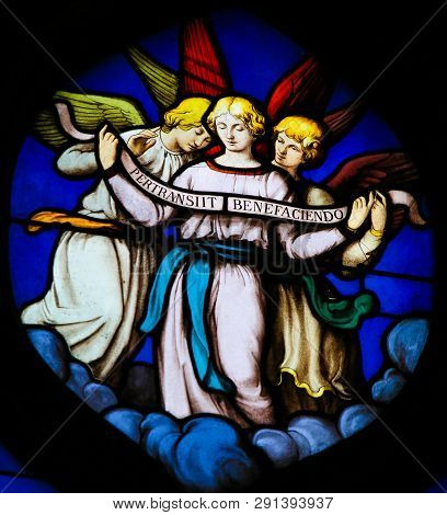 Paris, France - February 10, 2019: Stained Glass In The Church Of Saint Severin, Latin Quarter, Pari