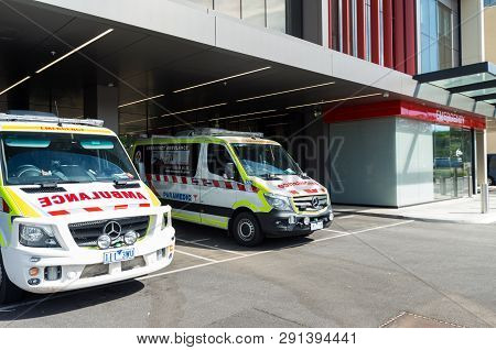 Bendigo, Australia - October 28, 2018: Ambulance Victoria Mercedes Sprinter Vans Outside The Emergen