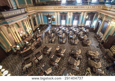 Lansing, Michigan, Usa - March 14, 2019: Interior Of The Michigan State Senate Chambers In The State