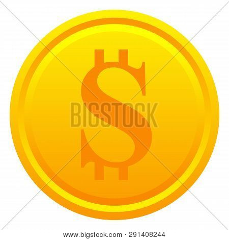 Dollar Golden Coin Isolated On White Background