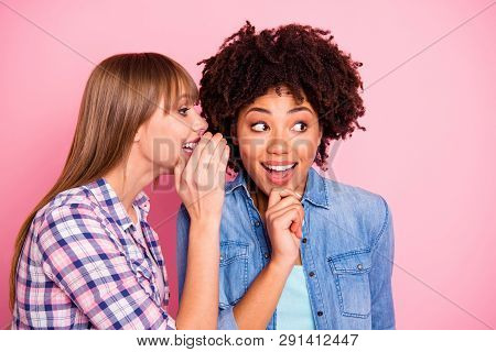 Close-up Portrait Of Her She Two Person Nice Cute Girlish Lovely Attractive Charming Cheerful Girls