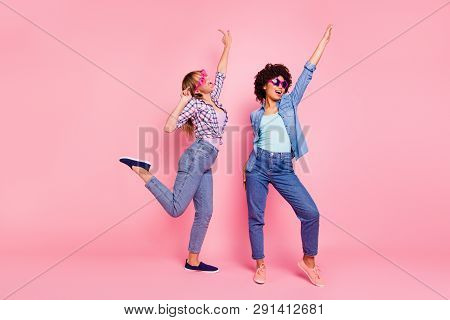 Full Length Body Size Portrait Of Two Person Nice Cool Crazy Careless Attractive Charming Cheerful C