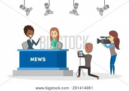 Shooting News Show In The Studio. Newscaster
