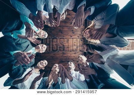 Close Up Low Angle View Photo Different Age Members Business People Stand Circle She Her He Him His